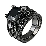 LILILEO Jewelry Black Gold Sets Of High-Grade Black Nano Zircon Ring For Women's Rings