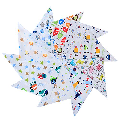 Labebe Baby Bandana Bibs Drool/Burpy Bibs for Boys 10-Pack Multicolor, 100% Cotton, Newborn Baby Shower Gift for Teething and Drooling, Soft & Absorbent, Machine Washable and Stain Proof - Boys