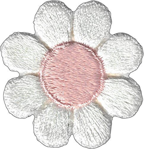 White Daisy Flower with Pink Center Iron Sew On Patch / Applique - Iron Girl