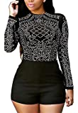 Blansdi Women Rhinestone Mesh See Through Bodycon Clubwear Party Short Jumpsuit Rompers