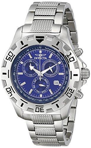 Invicta Watch – Reloj cronógrafo de cuarzo para hombre con correa de acero inoxidable, color plateado
