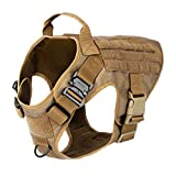 """ICEFANG Tactical Dog Harness,K9 Working Dog Vest,No Pull Front Leash Clip D-Ring,Hook and Loop Panel for ID Patch Snap-Proof (L (Chest 28""""-35""""), CB-2x Metal Buckle)"""