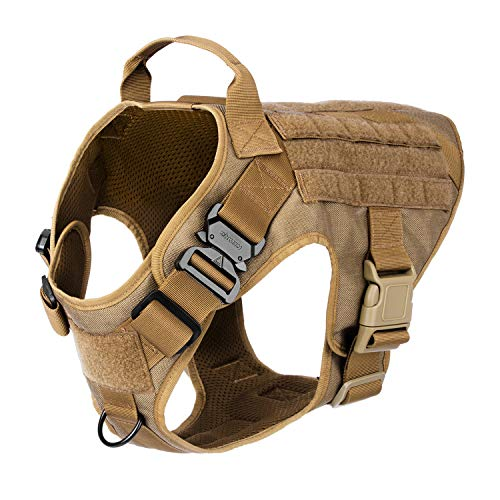(ICEFANG Large Dog Tactical Harness,Military K9 Working Dog Molle Vest,No Pulling Front Clip,Metal Buckle Easy Put On Off (L (28