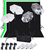AW Photo Studio 33'' Lighting White Diffuser Umbrella+Reflector Umbrella+Background Support+9'x6' Muslin Backdrop Kit