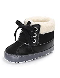 Axinke Baby Girls Boys Toddlers Winter Warm Crib Shoes Anti-slip PU Leather Snow Boots with Faux Fur