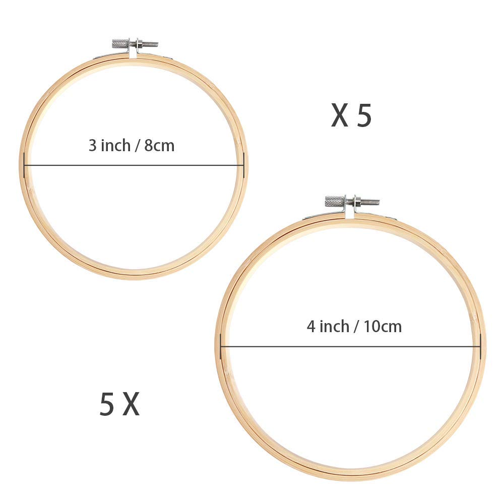 SODIAL 10 Piece 3 Inch And 4 Inch Embroidery Hoops Bamboo Circle Cross Stitch Hoop Ring For Christmas Ornament Art Craft Handy Sewing