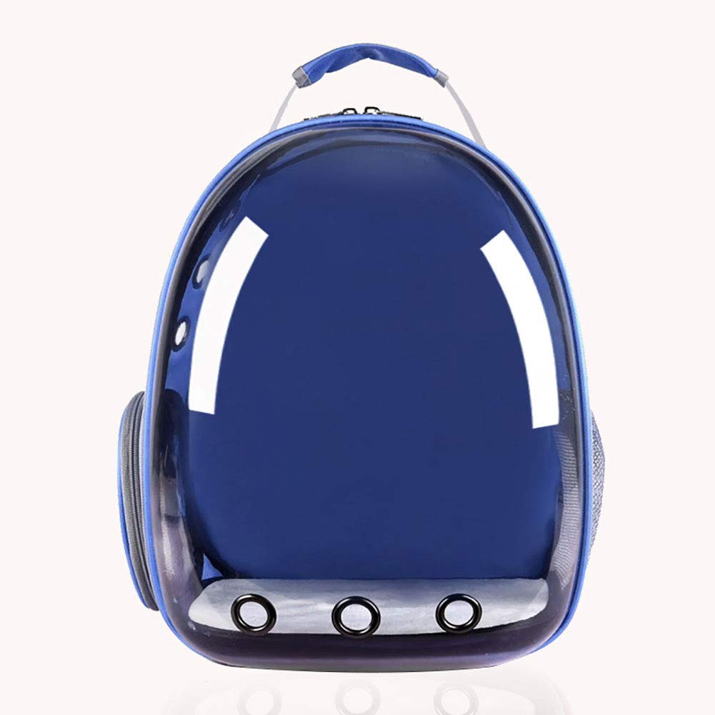 bluee KIKBLW Transparent Space Pet Bag, Portable Panoramic Breathable Pet Outdoor Travel Backpack Chest Shoulder Bag for Dog Cat