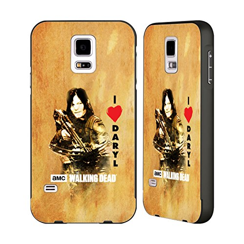 Official AMC The Walking Dead Love Daryl Crossbow Typography Black Aluminum Bumper Slider Case for Samsung Galaxy S5 / S5 Neo Slider Crossbow