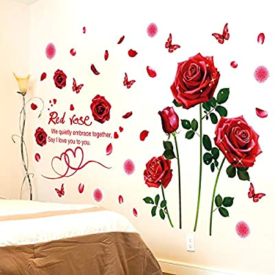 LiveGallery Beautiful Lovely Rose Flowers Wall Decals Removable DIY Butterfly Flower Vines Art Decor Wall Stickers Murals for Living Room TV Background Kids Gilrs Rooms Bedroom Decoration (Red): Home & Kitchen