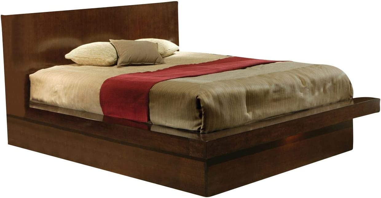 Coaster Home Furnishings Jessica Queen Bed with Rail Seating and Lights Cappuccino Platform