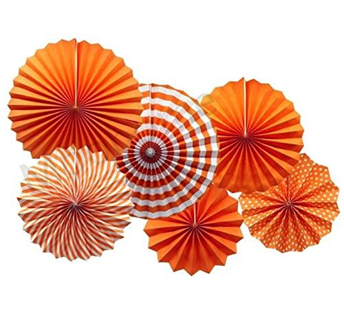 Orange Pinwheel (Moohome Orange Hanging Paper Fans Set,Colorful Round Pattern/Paper Garlands for Party/Wedding/Birthday/Festival/Christmas/Event 6pc/Set)