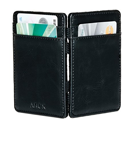 (ARCK Ultra Slim Magic Wallet for Men and Women, Handmade Thin Leather Card Wallet, Incl. RFID Protection (Black) - Great Gift Idea)