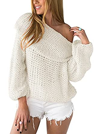 Lookbook Store Women Chunky Fuzzy Oversized Off-Shoulder Neck Loose White Sweater Top US 2