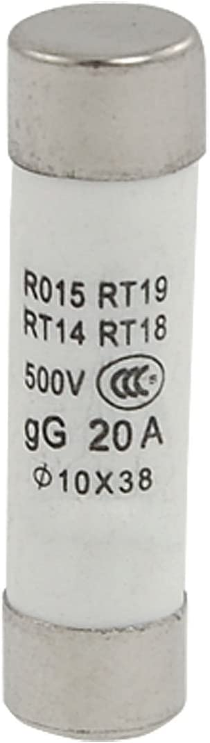 Aexit RO15 10x Fuses 38mm Cylinder Contact Cap Ceramic Fuses 500V 20A Fuse Links 20 Pcs