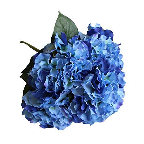 AMTION Artificial Silk Fake 5 Heads Flower Bunch Bouquet Home Hotel Wedding Party Garden Floral Decor Hydrangea Dark (Blue Hydrangeas Centerpieces)