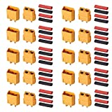 AUTOUTLET 10PCS 10Pairs XT60 Bullet Connectors Plugs Male & Female with Heat Shrink For RC Car/Boat/LiPo Battery