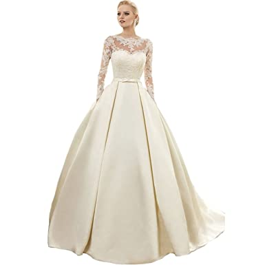 Banfvting Ivory Wedding Dresses Long Sleeves Lace Satin Corset Back ...