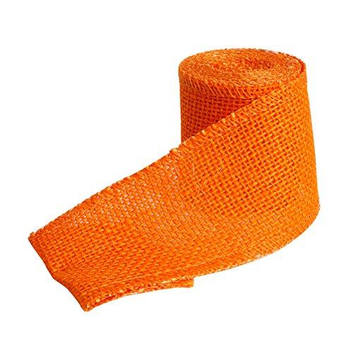 Kangnice New Natural Colorful Jute Burlap Ribbon Rustic Weddings Party Supplies 6CM X 2M (Orange)