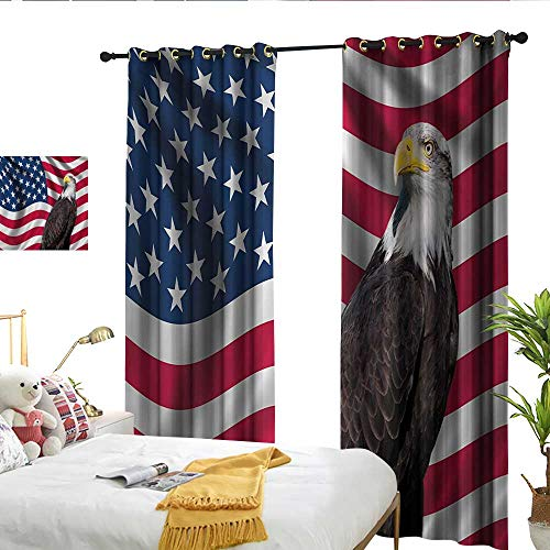 - WinfreyDecor Eagle Light Luxury high-end Curtains Patriotic Symbols of The Land with an American Flag with a Bald Eagle Nationalism Noise Reducing W84 x L108