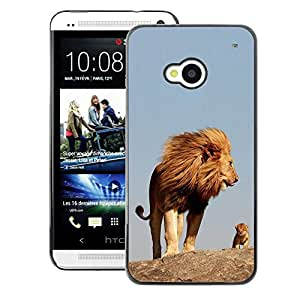 A-type Arte & diseño plástico duro Fundas Cover Cubre Hard Case Cover para HTC One M7 (Nature Cute Mother Mom Mommy Lion)