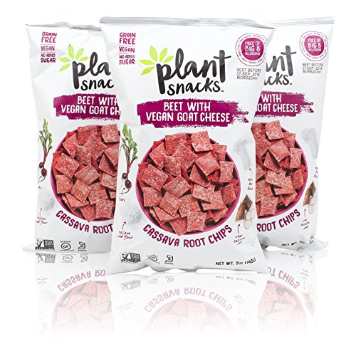 - Plant Snacks Beet with VEGAN Goat Cheese Mix Cassava Root Chips, Vegan, Big-8 Allergen Free, Non-GMO Project Verified, Gluten Free, Grain Free, No Added Sugar, 5 oz Bags, Pack of 3