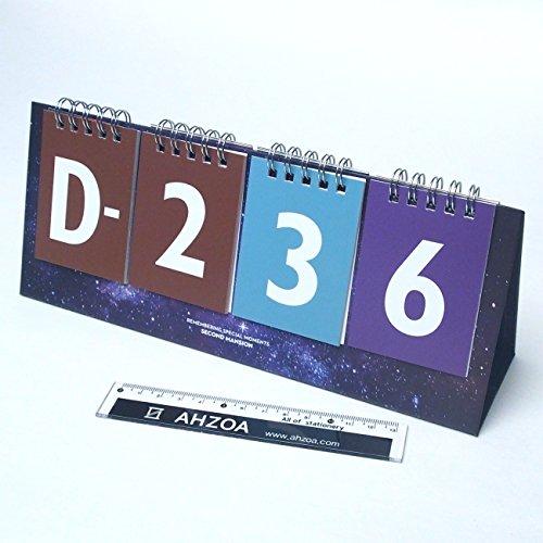 365 D Day Calendar with AHZOA Mini Ruler, Countdown Standing Desk Calendar, Reversible Tent Type, Score Board Style (universe) Calendar Type