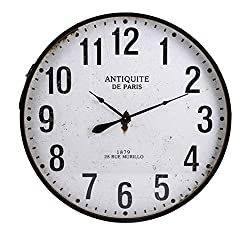 CC Home Furnishings 36.25 Industrial Style Whitewashed and Distressed Black Iron Wall Clock