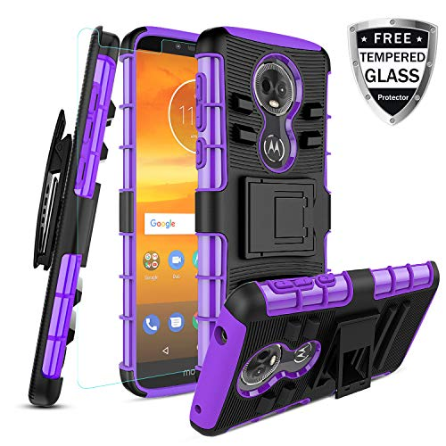 Motorola Moto E5 Plus Case/Moto E5 Supra Case W [Tempered Glass Screen Protector] [Built-in Kickstand] Full Body Shockproof PC Back Cover Soft TPU Inner Armor Swivel Combo Holster Belt Clip,Purple