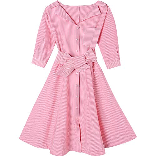 Woman Dress Spring and Summer Small Lapel Waist Slim Skirt Shirt Skirt Striped Dress