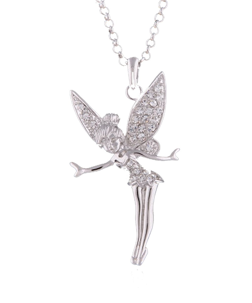 Baubles N Gems 8k Rose Gold Tone Swarovski Elements Crystal Angel Tinkerbell Fairy Necklace