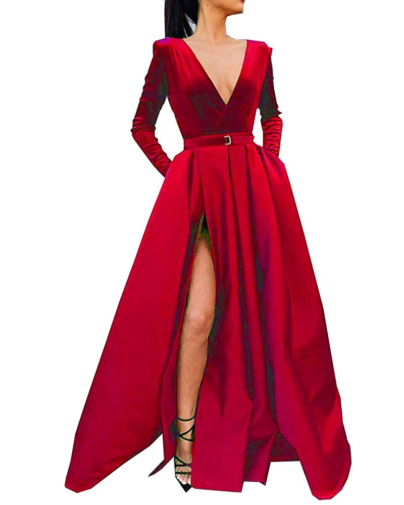 Red MariRobe Women's High Split Evening Dress Deep V Neck Prom Gown Long Sleeve Party Gown