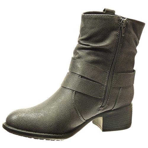 Angkorly Damen Schuhe Stiefeletten - Reitstiefel Kavalier - Strass - Schleife Blockabsatz High Heel 4 cm cm Schwarz