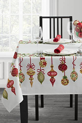 Holiday Trimmings Fabric Christmas Tablecloth, 52