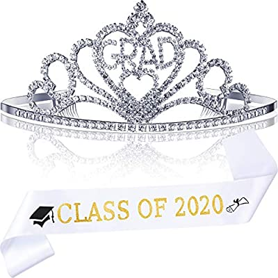2020 Graduation Party Supplies Kits, Glittered Metal Graduation Princess Grad Crown Tiara and Graduated Sash, Great Gifts for Graduation Party Decorations Grad Decor Favors (White CLASS OF 2020): Toys & Games