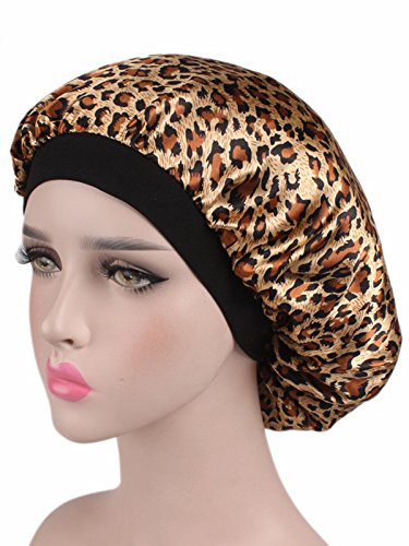 (Century Star Women Satin Sleeping Cap Salon Bonnet Head Wrap Scarf for Hair Loss Leopard Brown One Size)