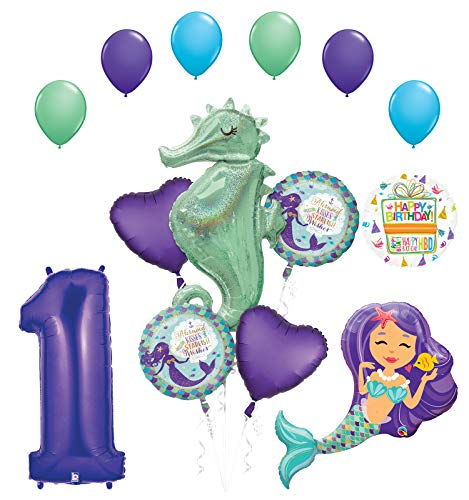 Mermaid Wishes and Seahorse 1st Birthday Party Supplies Balloon Bouquet Decorations (Best Wishes For First Birthday)