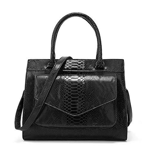 (Women Boston Bag Top Handle Snake Skin Grain Handbags Faux Leather Shoulder Purse -)