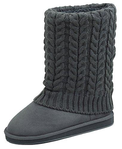Star Bay Womens Rib Knit Sweater Boot,6 B(M) US,Grey ()