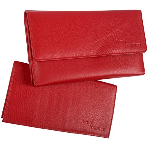 Access Denied Rfid Blocking Womens Leather Wallet And Checkbook (apple Red) 1228