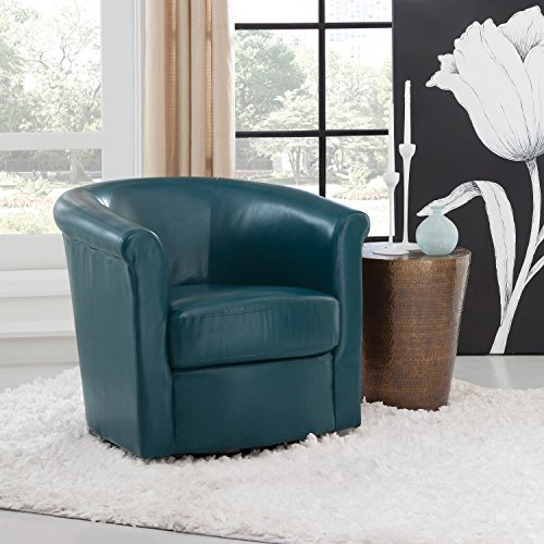Grafton 1012-05-L02 Home Madison Faux Leather Swivel Barrel Accent Chair, One, Teal (Leather Chair Swivel Club)