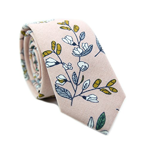 DAZI Men's Skinny Tie Floral Print Cotton Necktie, Great for Weddings, Groom, Groomsmen, Missions, Dances, Gifts. (Dusty Lily)