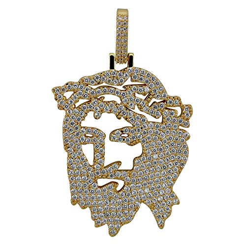 TOPGRILLZ Men 14K Gold Plated Iced Out CZ Simulated Diamond Big Stones Crown Jesus Piece Pendant Necklace with Stainless Steel Chain Hip Hop (Gold Solid Jesus)
