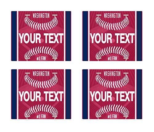 (BRGiftShop Customize Your Own Baseball Team Washington Set of 4 Square Beverage Coasters )