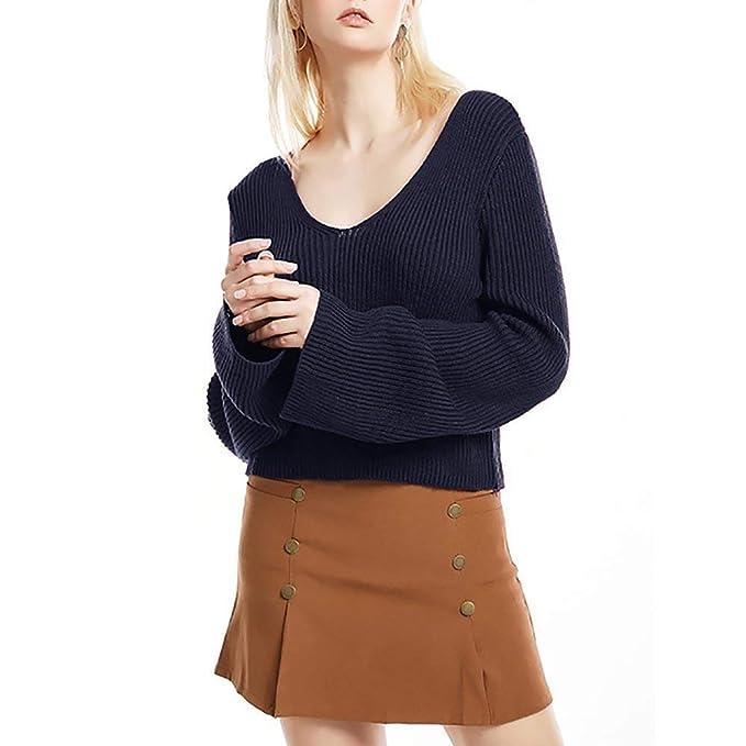 Adelina Sudaderas Mujer Otoño Invierno Knit Pullover Manga Larga Sin Tirantes Casuales Ropa Anchas V Cuello Unicolor Pullover Punto Sweater: Amazon.es: Ropa ...