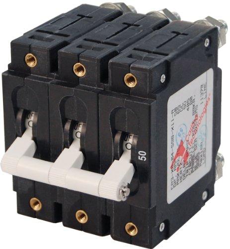 Blue Sea Systems C-Series White Toggle Triple Pole 50A Circuit Breaker