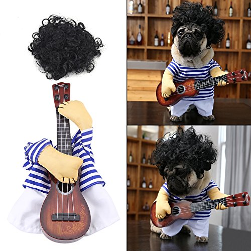 Filfeel Pet Dress, Dog Cat Costume Guitar Player Puppy Funny Halloween Christmas Party with Wig (XL)