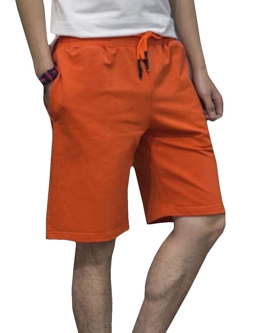 Etecredpow Men Straight Summer Elastic Waist Solid Trendy Swim Trunks Shorts