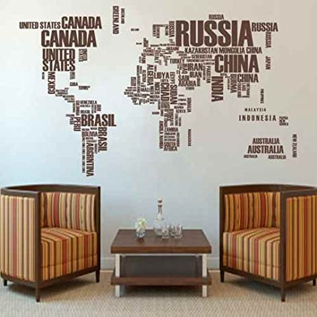 Amazon world map typography wall decal vinyl art sticker wall world map typography wall decal vinyl art sticker wall decor map stickerdark brown gumiabroncs Images