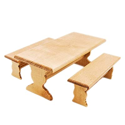 Odoria 1:12 Miniature Garden Long Table and 2 Bench Set Dollhouse Furniture Accessories: Toys & Games [5Bkhe1900729]