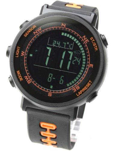 (LAD WEATHER] Swiss Sensor Watches Digital Compass Altimeter Weather Forecast Barometer Thermometer Alarm Calendar Chronograph Stopwatch Timer (Orange))